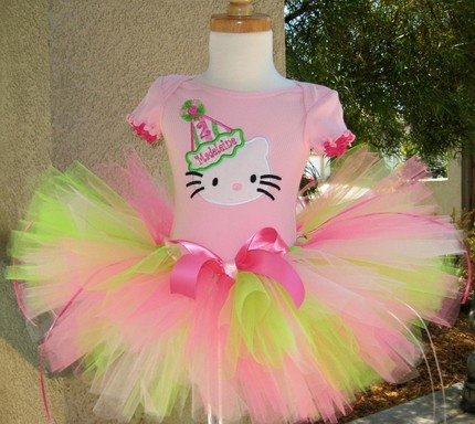 Girls Birthday Hello Kitty Pink and Lime Tutu Set!!! love it