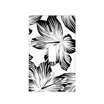 Black and white hibiscus light switch cover - pattern sample design template diy cyo customize