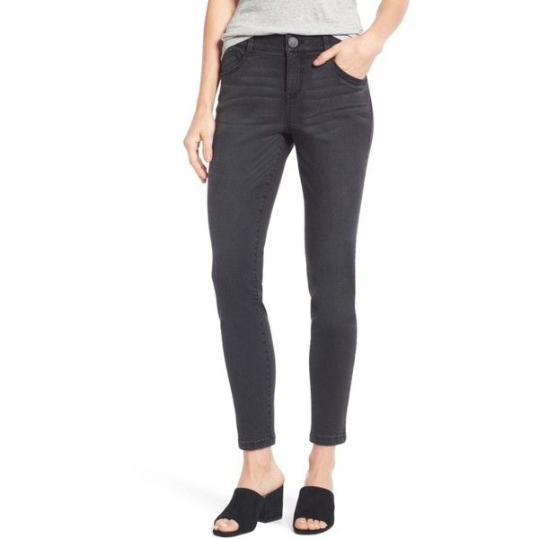 Women's Wit & Wisdom Ab-Solution Stretch Ankle Skinny Jeans ($45) ❤ liked on Polyvore featuring jeans, grey, petite, skinny ankle jeans, stretch denim jeans, stretch jeans, super skinny jeans and skinny fit jeans
