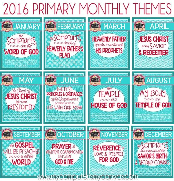 Sharing Time Monthly Theme Posters, PRINTABLE Primary 2016 #mycomputerismycanvas