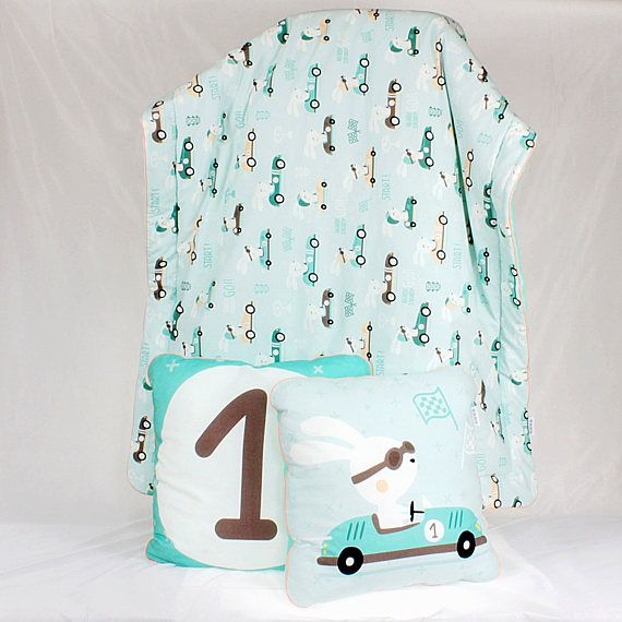 Baby Boy Bedding Set for a bed Racer Rabbit Bunny in car Race