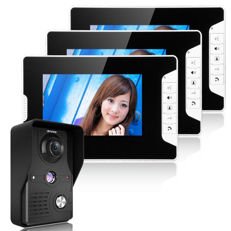 ENNIOSY813MK13 7inch TFT LCD Video Door Phone Doorbell Intercom Kit 1 Camera 3 Monitors Night Vision