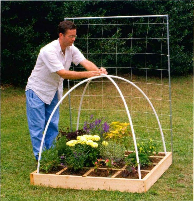 A dome support is so easy to make. Just bend a 10-foot length of 72-inch PVC pipe from corner to corner of your box, and then another from the opposite corners; then tie or bolt it at the intersection at the top to make a dome that can support any type of cover.