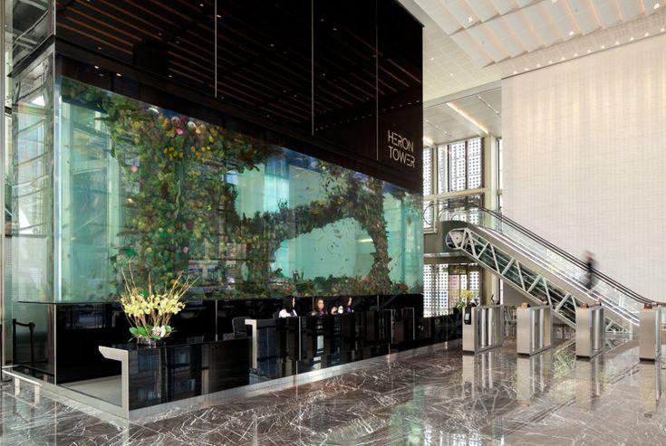 Heron tower aquarium interior hotel reception and for Tower fish tank