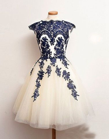 Embroidery Mesh Cap Sleeve Short Prom Dress