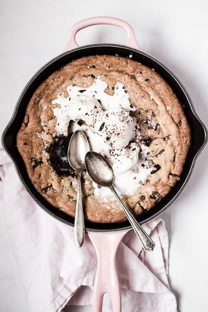 Salty Dark and Milk Chocolate Skillet Cookie | The Modern Proper