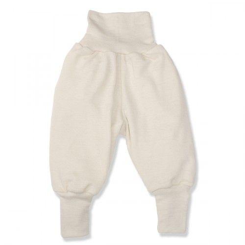 Uld/silke bukser, creme