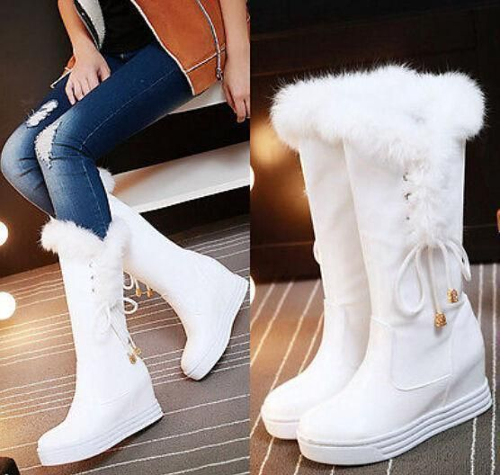 Fashion Knee High Boots Winter Warm Fur Trim Shoes Women Leisure Snow Wedge  Heel