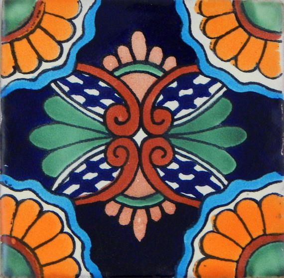 S#010 GET MANY AS YOU NEED !! Mexican Tile sample Ceramic Handmade 4x4 inch