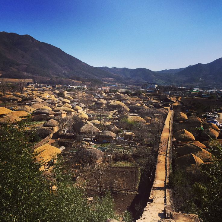 Korean traditional grass-roofed house in Suncheon
