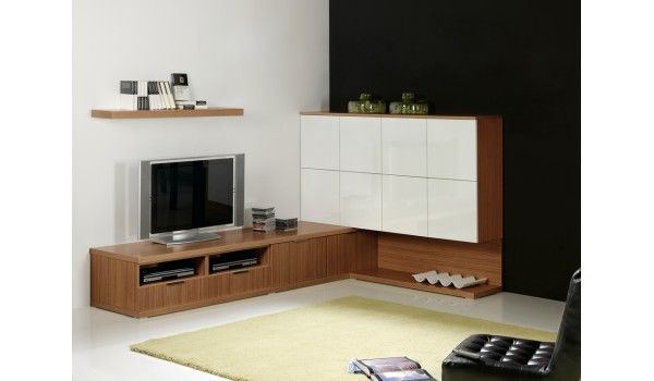 meuble tv contemporain d 39 angle blanc noyer am nagement. Black Bedroom Furniture Sets. Home Design Ideas