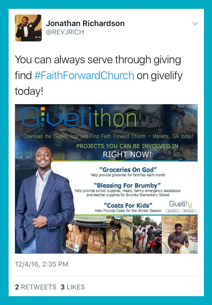 The pastor of Faith Forward Church shared this great graphic on Twitter to spread the word about their current offering campaigns and let his members know about the Givelify mobile giving app. Thanks, Rev. Richardson!
