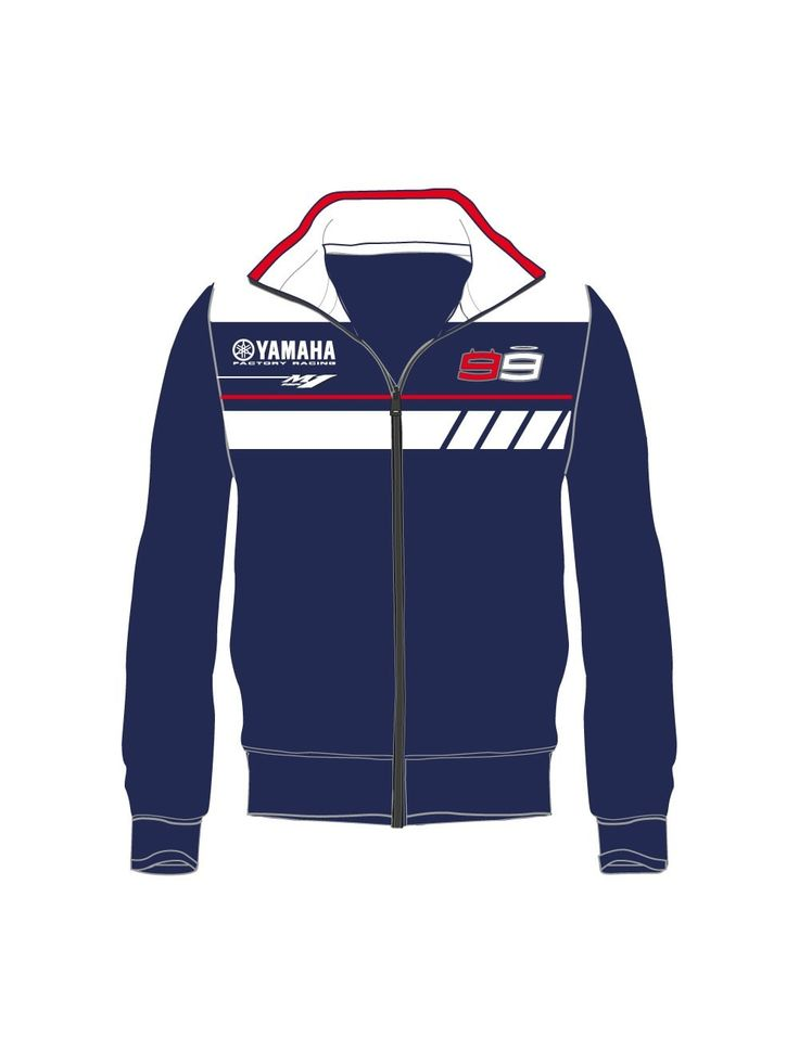 Hoodless sweatshirt by Yamaha and Jorge Lorenzo, designed for the youngest fans. High-neck sweatshirt with zip opening in blue and white, personalised with the new YZR-M1 Yamaha style.