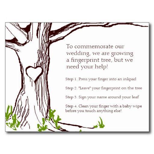 Wedding Fingerprint Tree Instruction Card