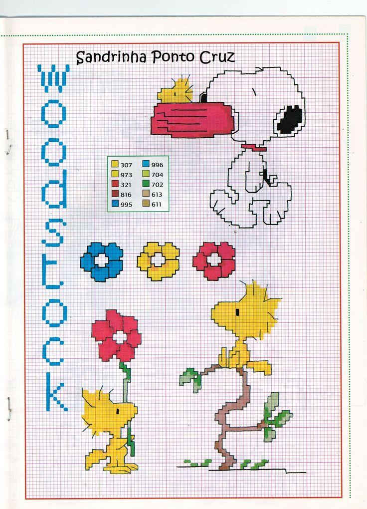 Sandrinha Ponto Cruz: Especial Snoopy...Camila Baby. I could make some of these into cute bookmarks!!