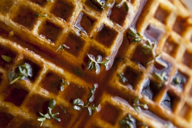 Cornmeal-bacon Waffles with Thyme-Infused Syrup