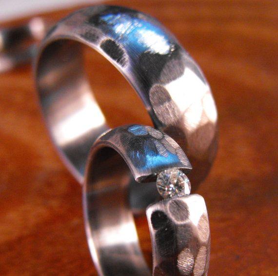 Titanium Rings Moissanite Wedding Band Set by robandlean on Etsy