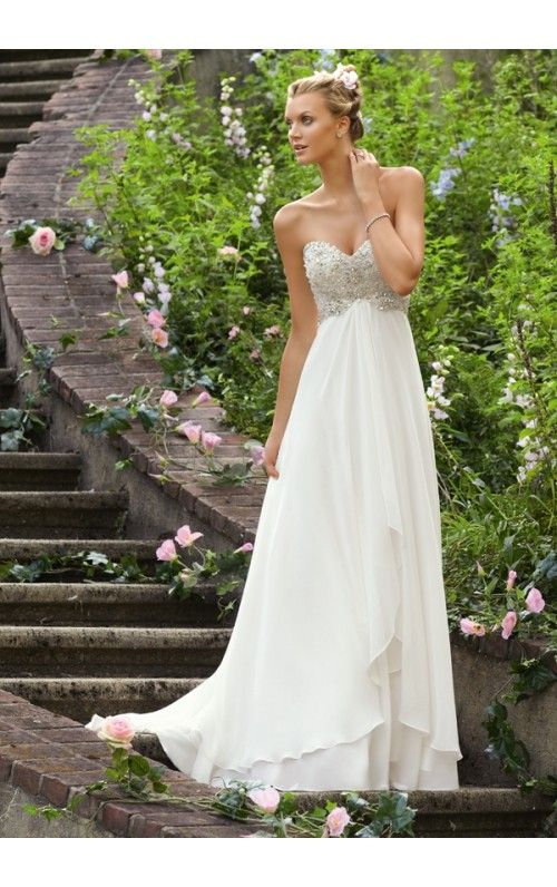 Stunning A-Line Strapless Sweetheart Beaded Button Back Sweep Train Wedding Dresses