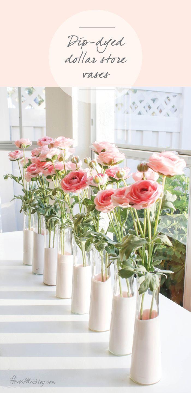 DIY pink dip dyed dollar store vases – #babyshower…