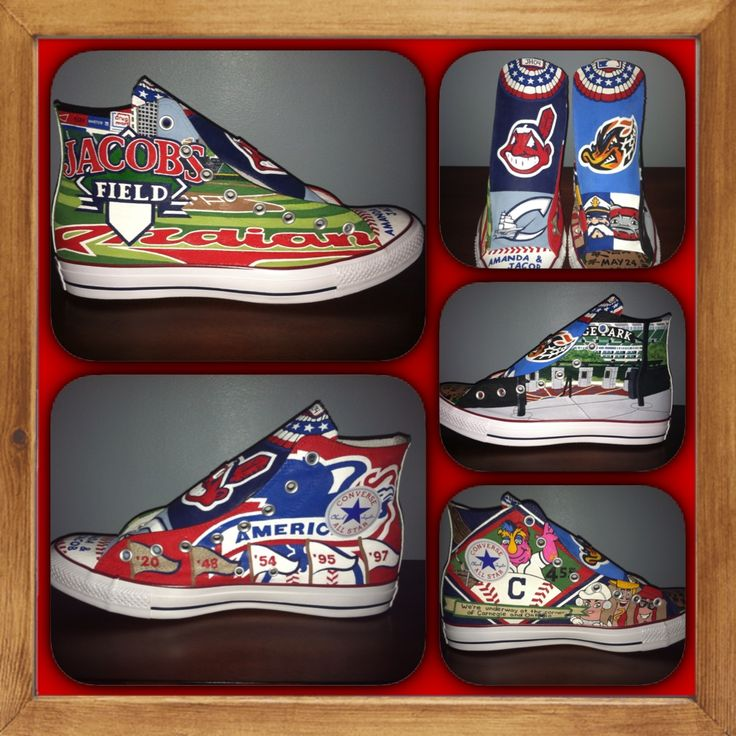 Cleveland Indians hand painted custom Converse All Star shoes from