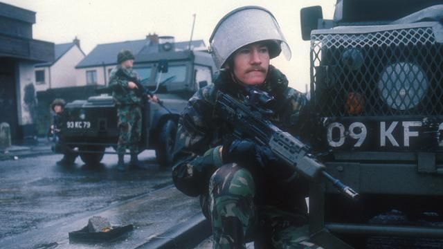 British army soldiers patrol the streets of Belfast, Northern Ireland (BBC)