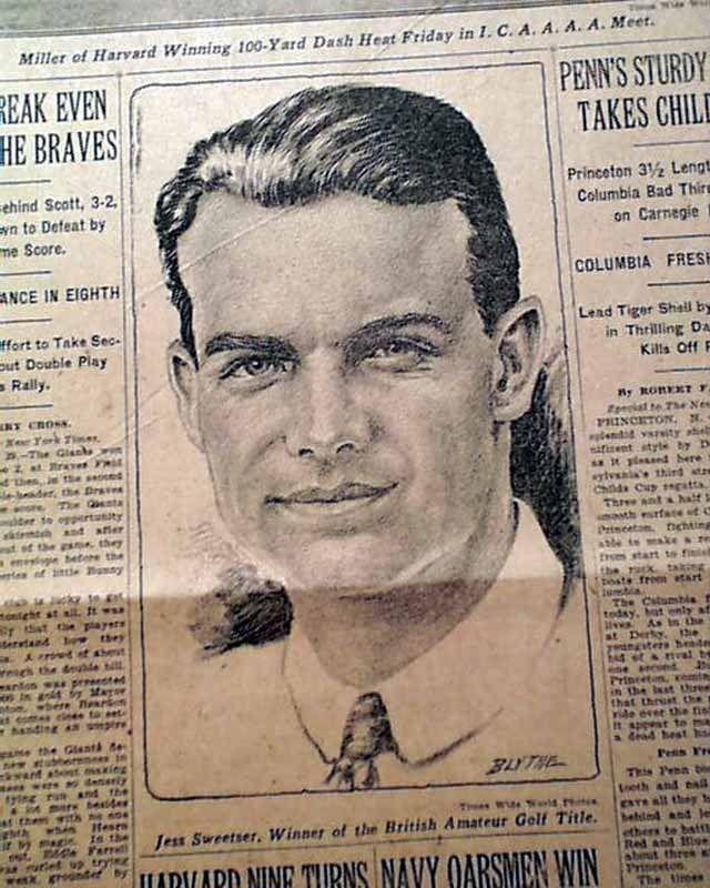 JESS SWEETSER Wins British Amateur PGA Golf Championship w/ Print 1926 Newspaper
