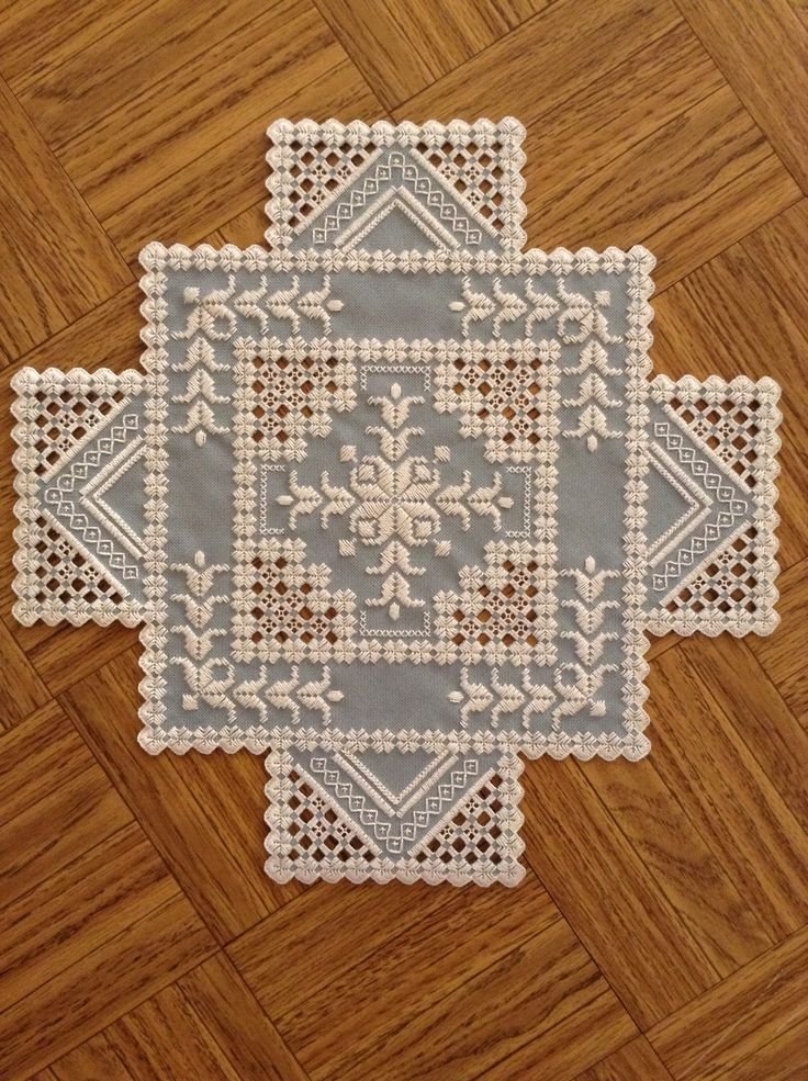 Hardanger doily. Pattern by Donna M. Olson and stitched by me.