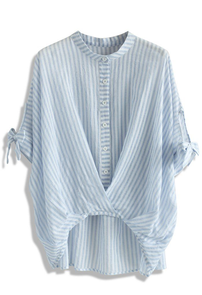 Casual Twist Smock Top in Blue Stripes - Tops - Retro, Indie and Unique Fashion