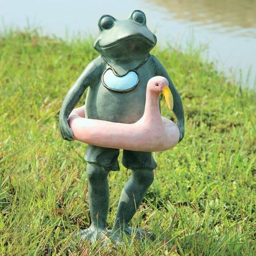 Home Beach Buddy Frog Statue Yard And Garden Decor