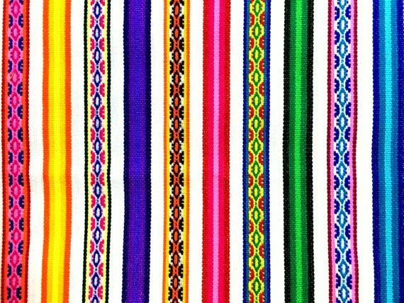 PERU FABRIC Magenta Stripe by meter  peruvian blanket  jacquard fabric by the yard peruvian textile  peruvian fabric  mexican curtains