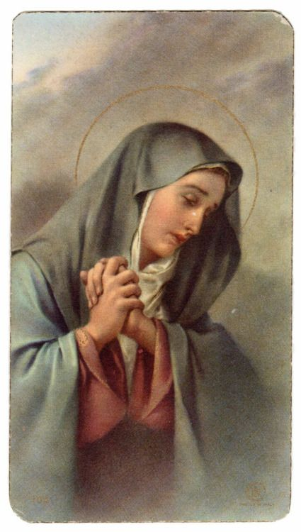 A vintage holy card of Mary as the Mother of Sorrows.
