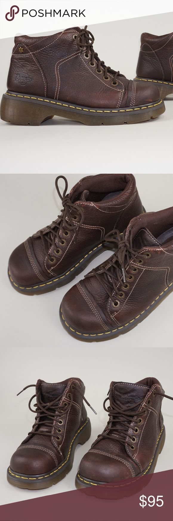 """Dr. Martens cap toe boots for women These are gently worn, in great shape.  Minimal signs of wear, please take a look of all the pictures to see the item details.  Let me know if you have any questions and reasonable offers are welcomed.   — Size: UK 7 / EU 41 / US 9 — Color: Dark Brown  — Heel: 2""""  #D103 Dr. Martens Shoes Combat & Moto Boots"""