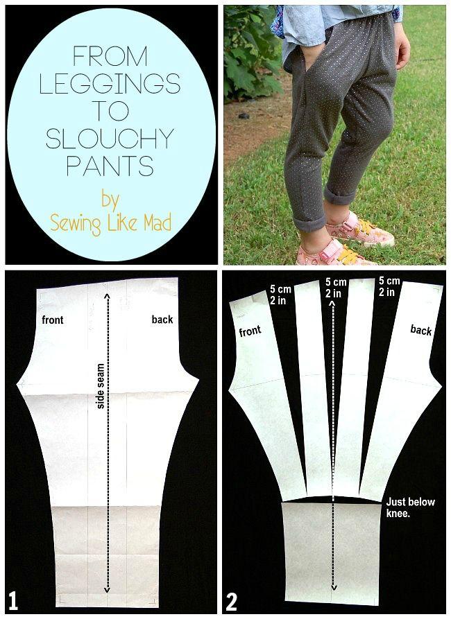 Coser Como Mad: De leggings Pantalones holgados párr. Patrón Fácil Alteración tutorial.