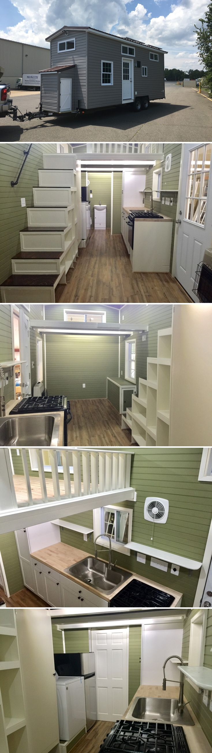 The Willow is a 24-foot custom off-grid tiny house with solar power, a 46 gallon fresh water holding tank, and composting toilet.