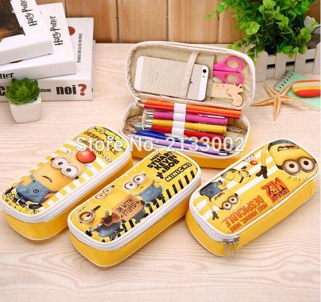 귀여운 만화 비열한 나 하수인 연필 케이스 귀엽다 학교 공급 연필 상자 문구 펜 연필 가방 차일