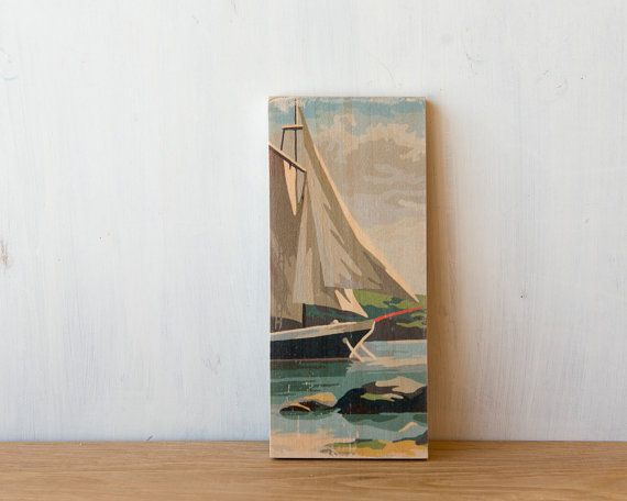 Paint by Number Art Block 'Sailboat' Vertical  by StudioLiscious, $22.00