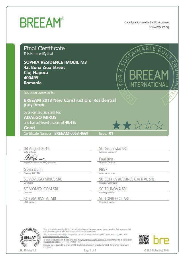 Imobilul M3, din comunitatea Sophia Residence Cluj, a primit certificarea BREEAM, cu calificativul GOOD.