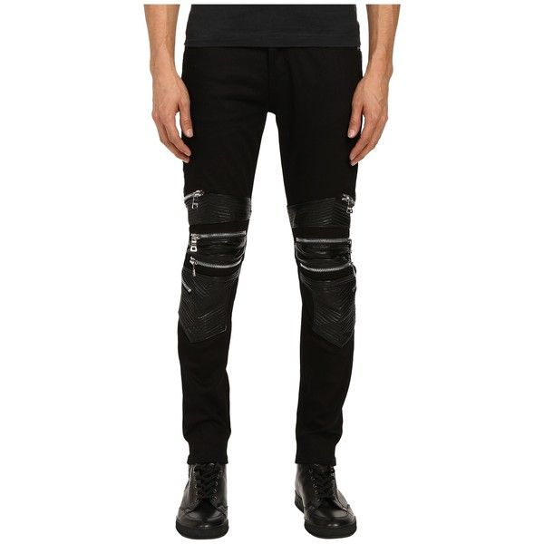 God's Masterful Children Chain Biker Jeans (Black/Black) Men's Jeans ($200) ❤ liked on Polyvore featuring men's fashion, men's clothing, men's jeans, mens chains, mens jeans, mens slim jeans, mens biker jeans and mens skinny jeans