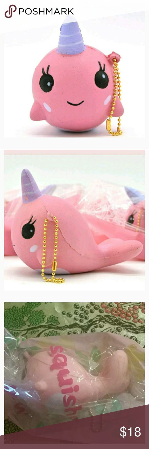 SQUISHY keychain/cell charm narwhal Bonus kawaii Brand new item size of a large mango 4x3 inches approx very cute slow rising in package minor factory defects possibly I have never opened or played w thus, ball chain is intact not broken , Pink only it's new condition , I own 1 my self and love it. FREE KAWAII STATIONARY MINI KIT See last 3 pixs for sample all are different Bonus DO NOT ADVERTISE IN MY CLOSET NO SLIME STORES OTHER KAWAII ITEMS I WILL REPORT U boutique Accessories