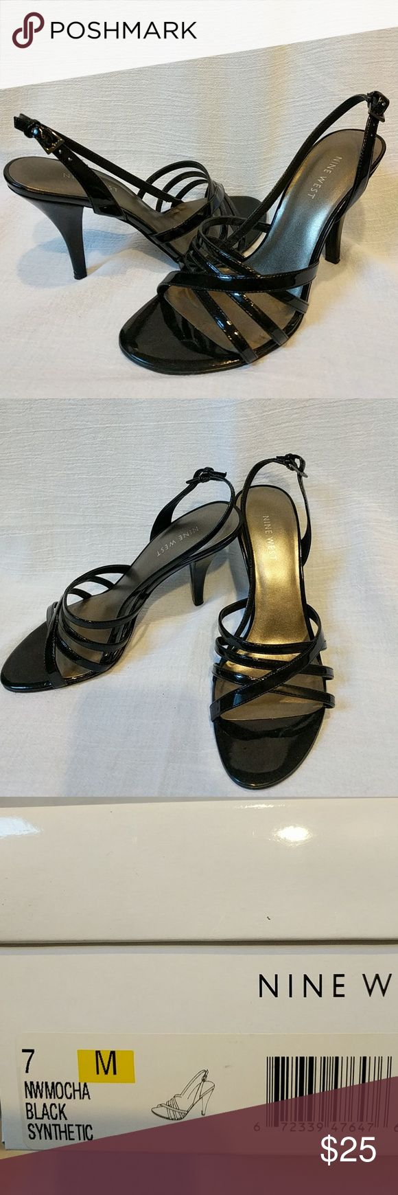 Nine West black patent leather strappy slingbacks Nine West, black patent leather strappy slingbacks. Worn a few times. Nine West Shoes Heels