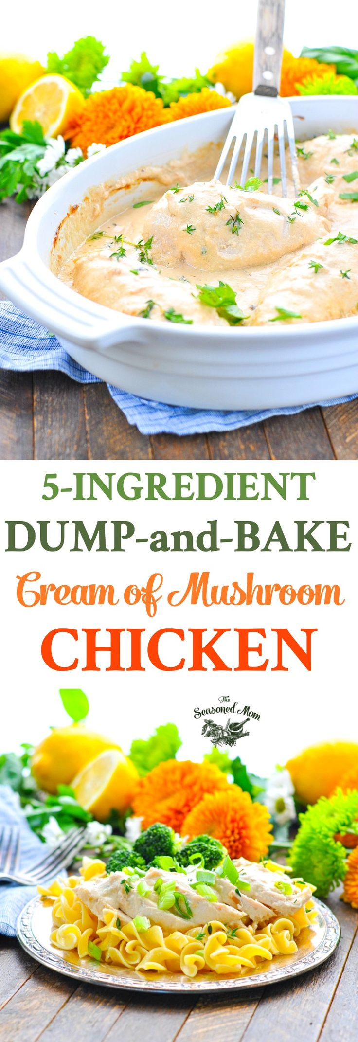 With just 5 minutes of prep and 5 ingredients, this Dump-and-Bake Cream of Mushroom Chicken is an easy dinner recipe for busy nights! Chicken Breast Recipes | Chicken Recipes | Dinner Ideas #chicken #chickenbreast #dinner
