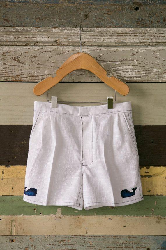 Boys Toddler Nautical White Linen Sailor Shorts, Whale Shorts, Lobster Shorts, Crab Shorts, Children's Shorts, Kids Shorts, Baby Shorts
