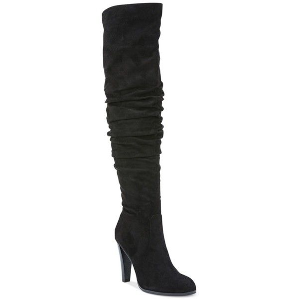 Carlos By Carlos Santana Delia Tall Boots (2.475 ARS) ❤ liked on Polyvore featuring shoes, boots, black, over knee boots, black boots, slouchy boots, slouch boots and tall boots