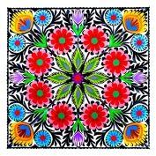 Wycinanka z kolorowym wzorem kwiatowym - wzór łowicki