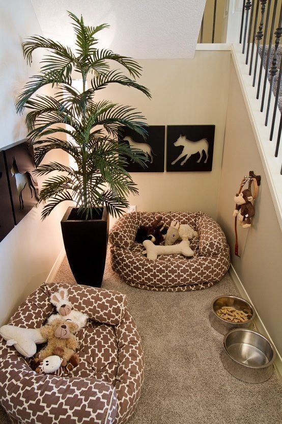 Cute idea for the dogs! Classy little doggy nook next to the stairs!
