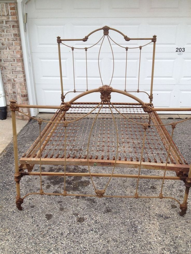 antique iron bed frame with springs 2
