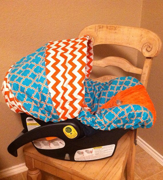 custom boys turquoise and orange infant car seat carseat cover headrest chest strap covers on. Black Bedroom Furniture Sets. Home Design Ideas