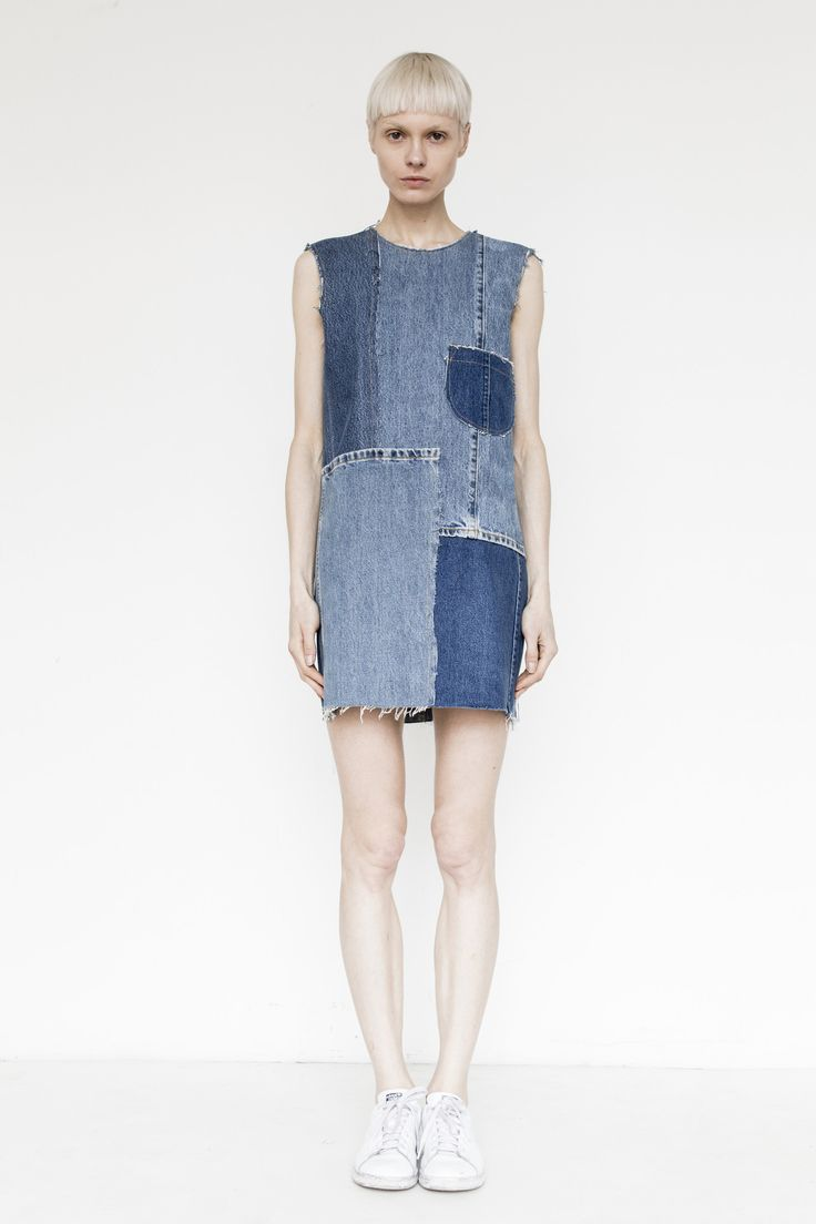 Assembly Denim Patchwork Shift Dress - Sleeveless denim dress made from vintage denim featuring zipped back closure - Model wears size XS - 100% Cotton - Made in USA -Please note, every garment is unique and made of hand picked vintage denim