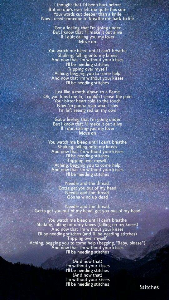 Lyric allele stitches lyrics : 295 best music images on Pinterest | Music lyrics, Song lyrics and ...