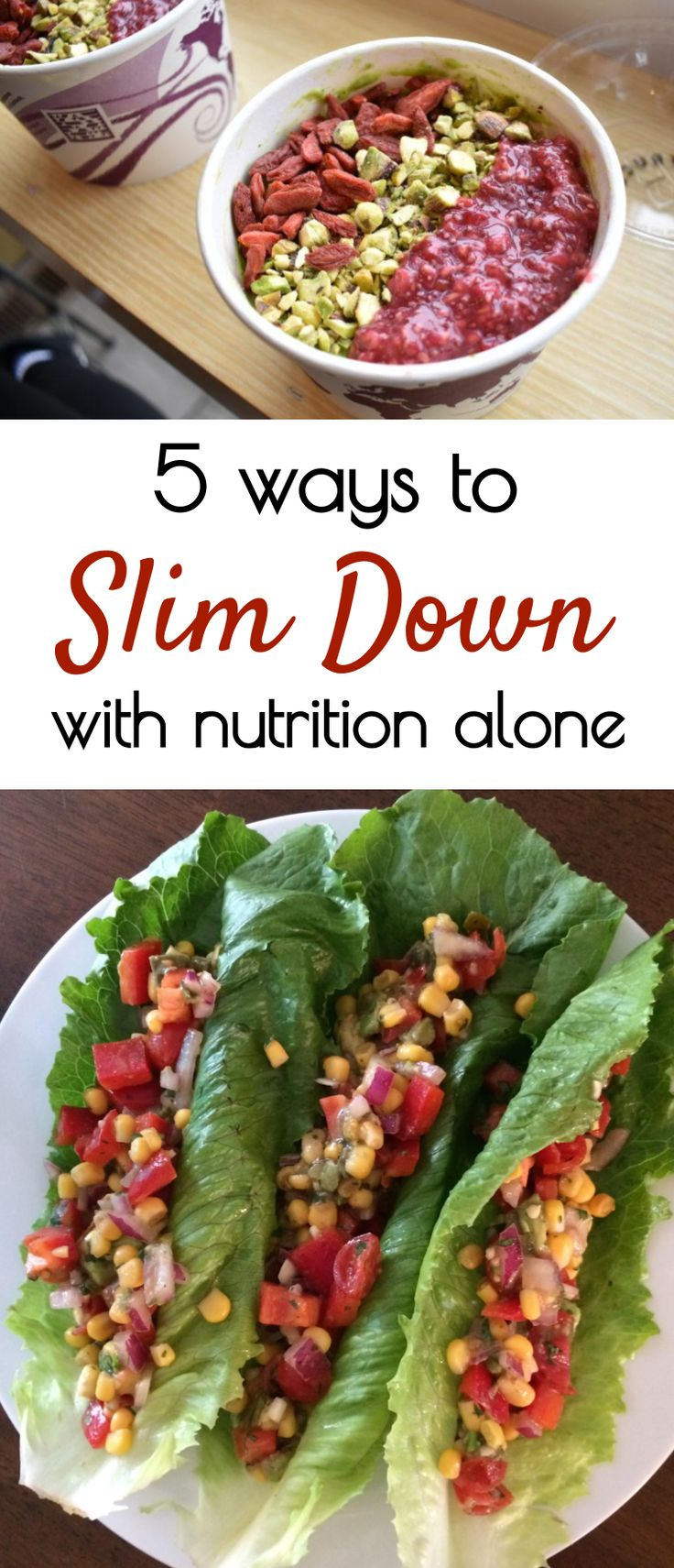 5 ways to slim down with nutrition alone! Plant based nutrition and wholesome food are the best way to lose weight naturally. vegan meal plan, plant based meal plans